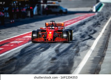 Barcelona, Spain - February 19-21, 2020: 05 VETTEL Sebastian (ger), Scuderia Ferrari SF1000, on the pitlane during Formula 1 testing at Barcelona circuit.