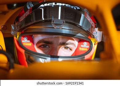 Barcelona, Spain - February 19-21, 2020: SAINZ Carlos (spa), McLaren Renault F1 MCL35, portrait