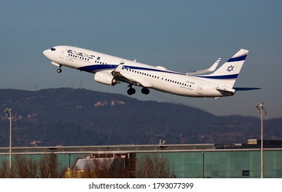 BARCELONA, SPAIN - FEBRUARY 2, 2020: View of 4X-EHE Boeing 737-900ER of El Al Israel Airlines flies up from Barcelona Airport (BCN)