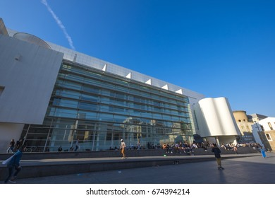 Barcelona, Spain - February 20, 2017: Detail of the building of MACBA, Museum of Contemporary Art of Barcelona, Catalonia Spain