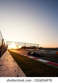 BARCELONA, SPAIN  FEBRUARY 20, 2019: Sunset during Formula One Test days at Circuit of Barcelona-Catalunya.