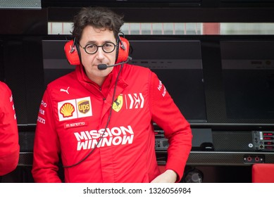 BARCELONA, SPAIN  FEBRUARY 20, 2019: Binotto during Formula One Test days at Circuit of Barcelona-Catalunya.