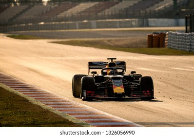 BARCELONA, SPAIN  FEBRUARY 20, 2019: Gasly during Formula One Test days at Circuit of Barcelona-Catalunya.