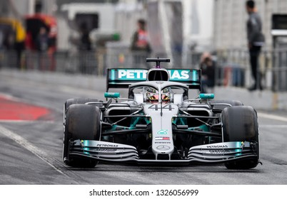 BARCELONA, SPAIN  FEBRUARY 20, 2019: Lewis Hamilton during Formula One Test days at Circuit of Barcelona-Catalunya.