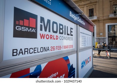 Barcelona, Spain. February 2018: Mobile world Congress or MWC 2018 Badge collection, located at the crossroads of Passeig de Gràcia and Gran Via de les Corts Catalanes.