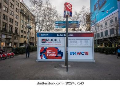 Barcelona, Spain. February 2018: Mobile world Congress or MWC 2018 Badge collection, located at the crossroads of Passeig de Gràcia and Gran Via de les Corts Catalanes.
