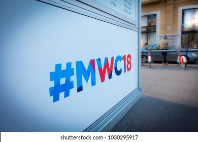 Barcelona, Spain. February 2018: Mobile world Congress or MWC 2018 hashtag, located at the crossroads of Passeig de Gracia and Gran Via de les Corts Catalanes.