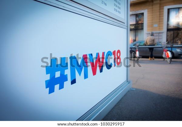 Barcelona, Spain. February 2018: Mobile world Congress or MWC 2018 hashtag, located at the crossroads of Passeig de Gracia and Gran Via de les Corts Catalanes.