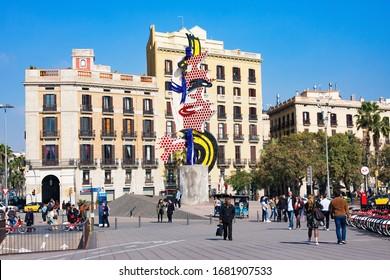 Barcelona, Spain - February 22, 2020: Barcelona's Head (La Cara o Cabeza de Barcelona) is surrealist sculpture created by American Pop artist Roy Lichtenstein for 1992 Summer Olympics