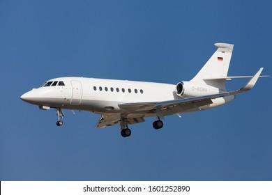 Barcelona, Spain - February 24, 2019: Dassault Falcon 2000EX approaching to El Prat Airport in Barcelona, Spain.