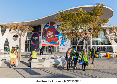 BARCELONA, SPAIN FEBRUARY 24: Every year, tens of thousands of reporters, analysts, and businesspeople attend the Mobile World Congress trade show in Barcelona. February 24, 2018 in Barcelona, Spain