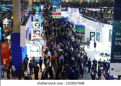 Barcelona / Spain - February 25 2019: Visitors seen during the Mobile world congress 2019 in Barcelona.