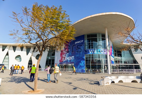 BARCELONA, SPAIN FEBRUARY 25: Every year, tens of thousands of reporters, analysts, and businesspeople attend the Mobile World Congress trade show in Barcelona. February 25, 2017 in Barcelona, Spain