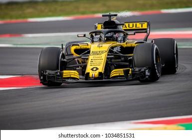 BARCELONA, SPAIN – FEBRUARY 26, 2018: Nico Hulkenberg during Formula One Test Days that celebrates at Circuit of Barcelona Catalunya.