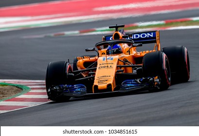 BARCELONA, SPAIN – FEBRUARY 26, 2018: Fernando Alonso of Mclaren Renault during Formula One Test Days that celebrates at Circuit of Barcelona Catalunya.