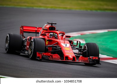 BARCELONA, SPAIN – FEBRUARY 26, 2018: Kimi Raikkonen during Formula One Test Days that celebrates at Circuit of Barcelona Catalunya.
