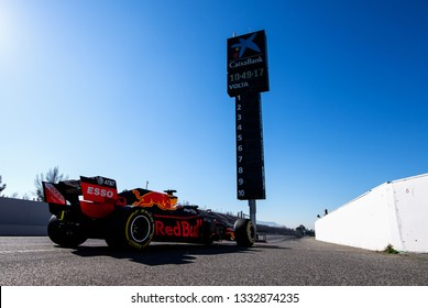 BARCELONA, SPAIN  FEBRUARY 26, 2019: RedBull Racing during Formula One Test days at Circuit of Barcelona-Catalunya.