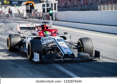 BARCELONA, SPAIN  FEBRUARY 26, 2019: Antonio Giovinazzi during Formula One Test days at Circuit of Barcelona-Catalunya.