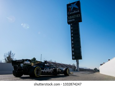 BARCELONA, SPAIN  FEBRUARY 26, 2019: Haas F1 team during Formula One Test days at Circuit of Barcelona-Catalunya.