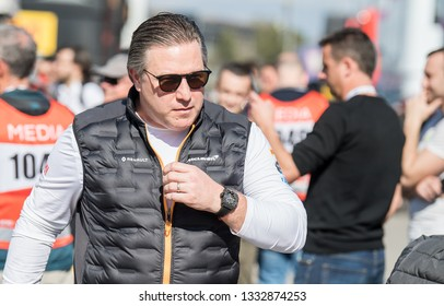 BARCELONA, SPAIN  FEBRUARY 26, 2019: Zak Brown during Formula One Test days at Circuit of Barcelona-Catalunya.