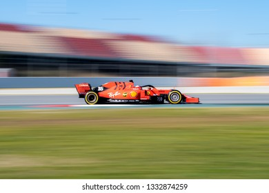 BARCELONA, SPAIN  FEBRUARY 26, 2019: Charles Leclerc during Formula One Test days at Circuit of Barcelona-Catalunya.