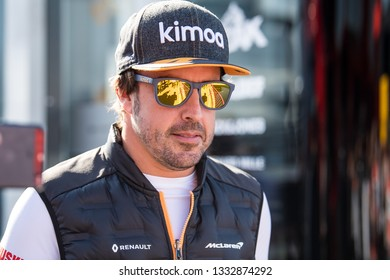 BARCELONA, SPAIN  FEBRUARY 26, 2019: Fernando Alonso during Formula One Test days at Circuit of Barcelona-Catalunya.