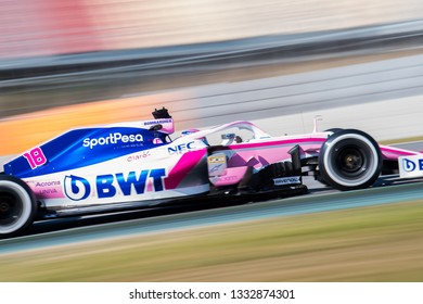 BARCELONA, SPAIN  FEBRUARY 26, 2019: Racing Point during Formula One Test days at Circuit of Barcelona-Catalunya.