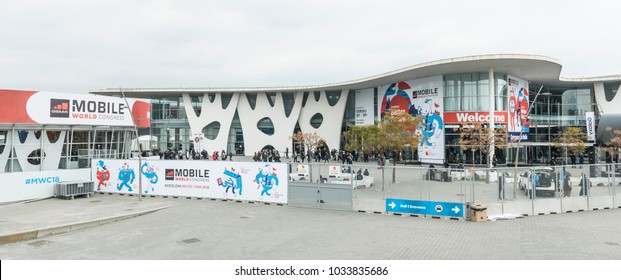 BARCELONA / SPAIN - FEBRUARY 26: outdoor entrance of Mobile World Congress 2018 on February 26, 2018, Barcelona, Spain.