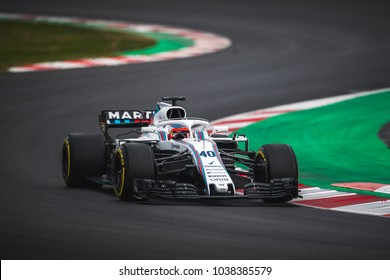 Barcelona, Spain - February 26-27, 2018: Robert Kubica at Formula One testing at Catalunya circuit in Barcelona, Spain.
