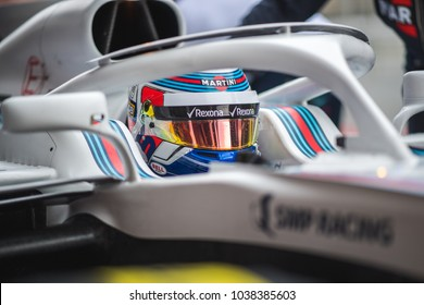 Barcelona, Spain - February 26-27, 2018: Sergey Sirotkin driver Williams F1 team at Formula One testing at Catalunya circuit in Barcelona, Spain.