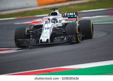 Barcelona, Spain - February 26-27, 2018: Lance Stroll driver Williams F1 team at Formula One testing at Catalunya circuit in Barcelona, Spain.