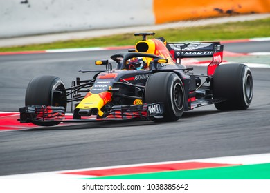 Barcelona, Spain - February 26-27, 2018: Daniel Ricciardo driver of RedBull Racing F1 Team at Formula One testing at Catalunya circuit in Barcelona, Spain.