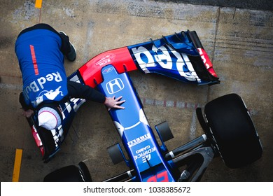 Barcelona, Spain - February 26-27, 2018: F1 car Red Bull Toro Rosso Honda front wing at Formula One testing at Catalunya circuit in Barcelona, Spain.
