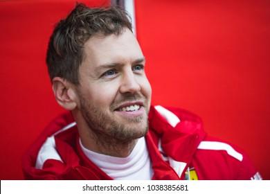 Barcelona, Spain - February 26-27, 2018: portrait of Sebastian Vettel Scuderia Ferrari F1 Team driver, in Barcelona, Spain.