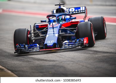Barcelona, Spain - February 26-27, 2018: Pierre Gasly on Toro Rosso team at Formula One testing at Catalunya circuit in Barcelona, Spain.