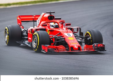 Barcelona, Spain - February 26-27, 2018: Sebastian Vettel driver of Scuderia Ferrari F1 Team at Formula One testing at Catalunya circuit in Barcelona, Spain.