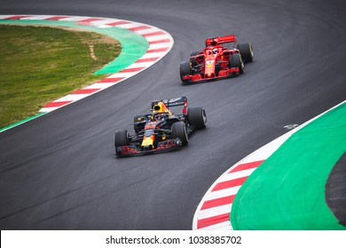 Barcelona, Spain - February 26-27, 2018: Max Verstappen and  Sebastian Vettel at Formula One testing at Catalunya circuit in Barcelona, Spain.