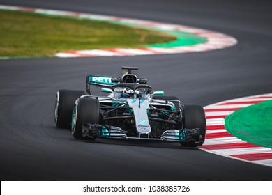 Barcelona, Spain - February 26-27, 2018: Valtteri Bottas Mercedes-AMG F1 Team at Formula One testing at Catalunya circuit in Barcelona, Spain.
