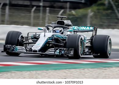 Barcelona, Spain. February 26/March 1, 2018. F1 test for season 2018. Valtteri Bottas, Mercedes.