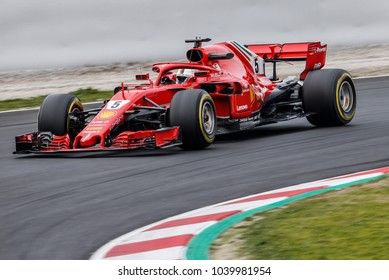 Barcelona, Spain. February 26/March 1, 2018. F1 test for season 2018. Sebastian  Vettel, Ferrari.