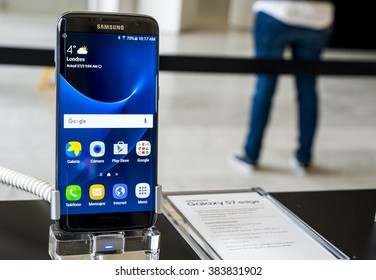 BARCELONA, SPAIN - FEBRUARY 27, 2016: New Samsung Galaxy S7 Edge presented at Mobile World Centre of Barcelona during Mobile World Congress 2016 in Barcelona, Spain.