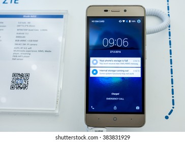 BARCELONA, SPAIN - FEBRUARY 27, 2016: New ZTE Blade A452 presented at Mobile World Centre of Barcelona during Mobile World Congress 2016 in Barcelona, Spain.