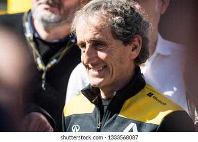 BARCELONA, SPAIN  FEBRUARY 27, 2019: Alain Prost during Formula One Test days at Circuit of Barcelona-Catalunya.