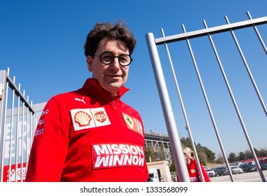 BARCELONA, SPAIN  FEBRUARY 27, 2019: Binotto during Formula One Test days at Circuit of Barcelona-Catalunya.