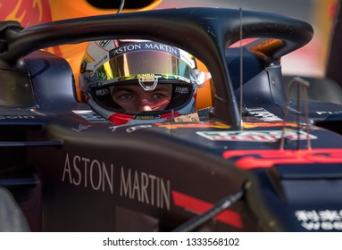 BARCELONA, SPAIN  FEBRUARY 27, 2019: Max Verstappen during Formula One Test days at Circuit of Barcelona-Catalunya.