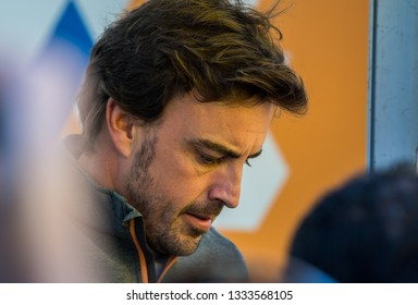 BARCELONA, SPAIN  FEBRUARY 27, 2019: Fernando Alonso during Formula One Test days at Circuit of Barcelona-Catalunya.