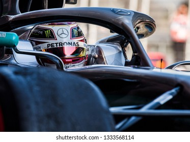 BARCELONA, SPAIN  FEBRUARY 27, 2019: Lewis Hamilton during Formula One Test days at Circuit of Barcelona-Catalunya.