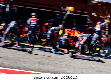 BARCELONA, SPAIN  FEBRUARY 27, 2019: Red Bull Racing during Formula One Test days at Circuit of Barcelona-Catalunya.