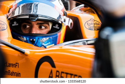 BARCELONA, SPAIN  FEBRUARY 27, 2019: Carlos Sainz Jr. during Formula One Test days at Circuit of Barcelona-Catalunya.