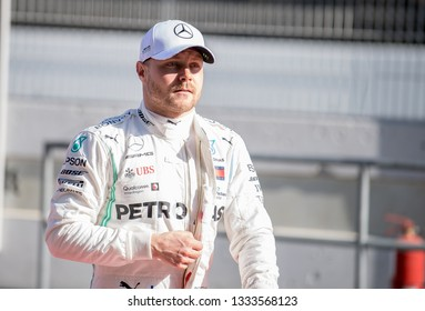BARCELONA, SPAIN  FEBRUARY 27, 2019: Valteri Bottas during Formula One Test days at Circuit of Barcelona-Catalunya.